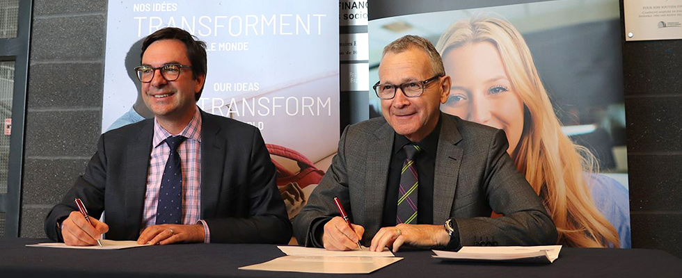 official partnership between the CEGEP de Jonquière and the University of Ottawa - Kevin Kee, Dean of the Faculty of Arts and Raynald Thibeault, CEO of the Cégep de Jonquière