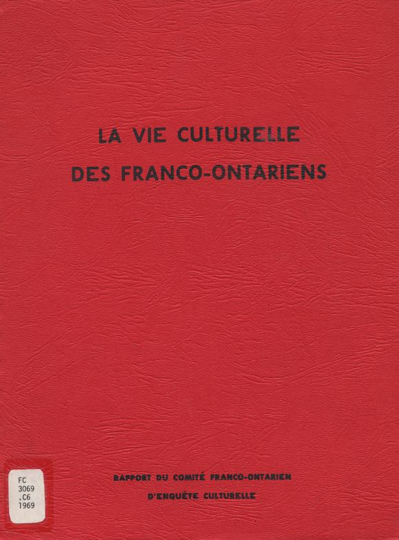 Page couverture du rapport du comité Saint-Denis, La vie culturelle des franco-ontariens