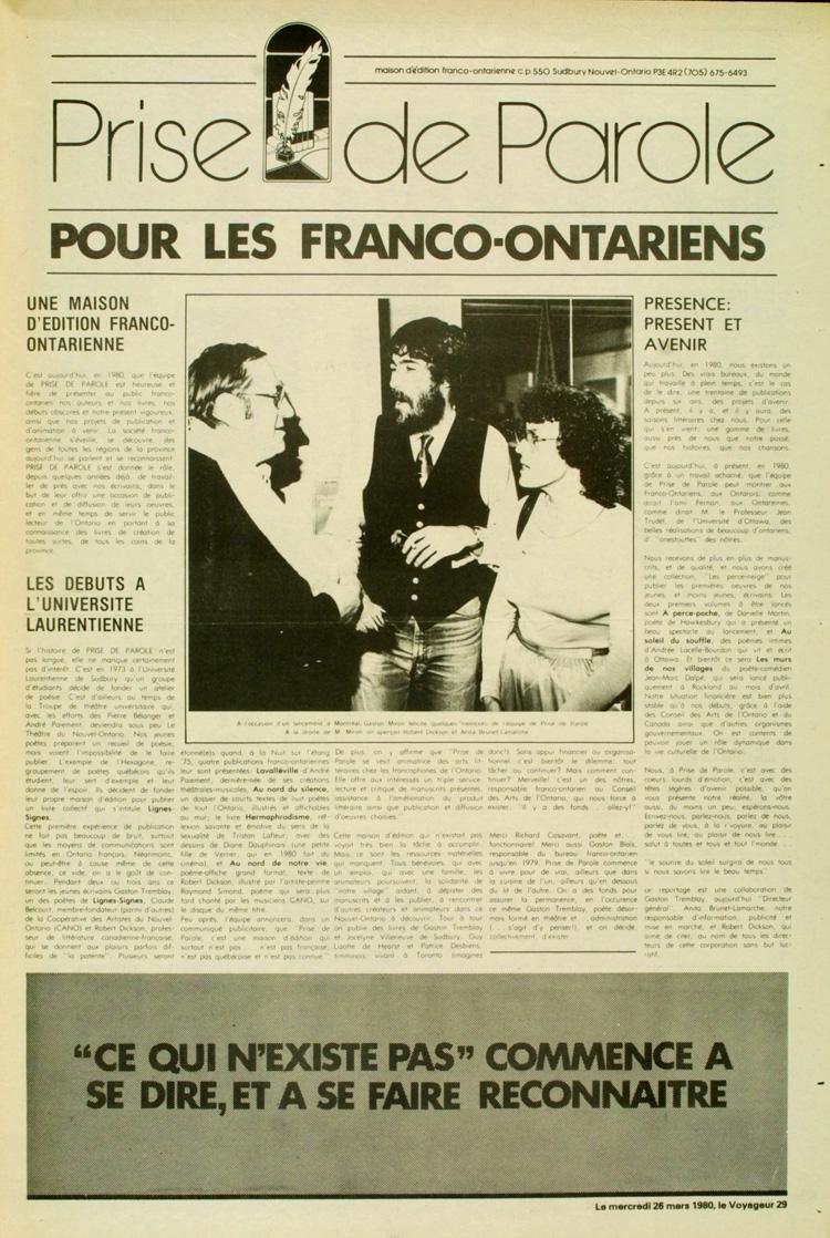 """pour les Franco-Ontariens"""", section spéciale parue dans Le Voyageur, p. 29, Sudbury, Ontario, 26 mars 1980 »."""