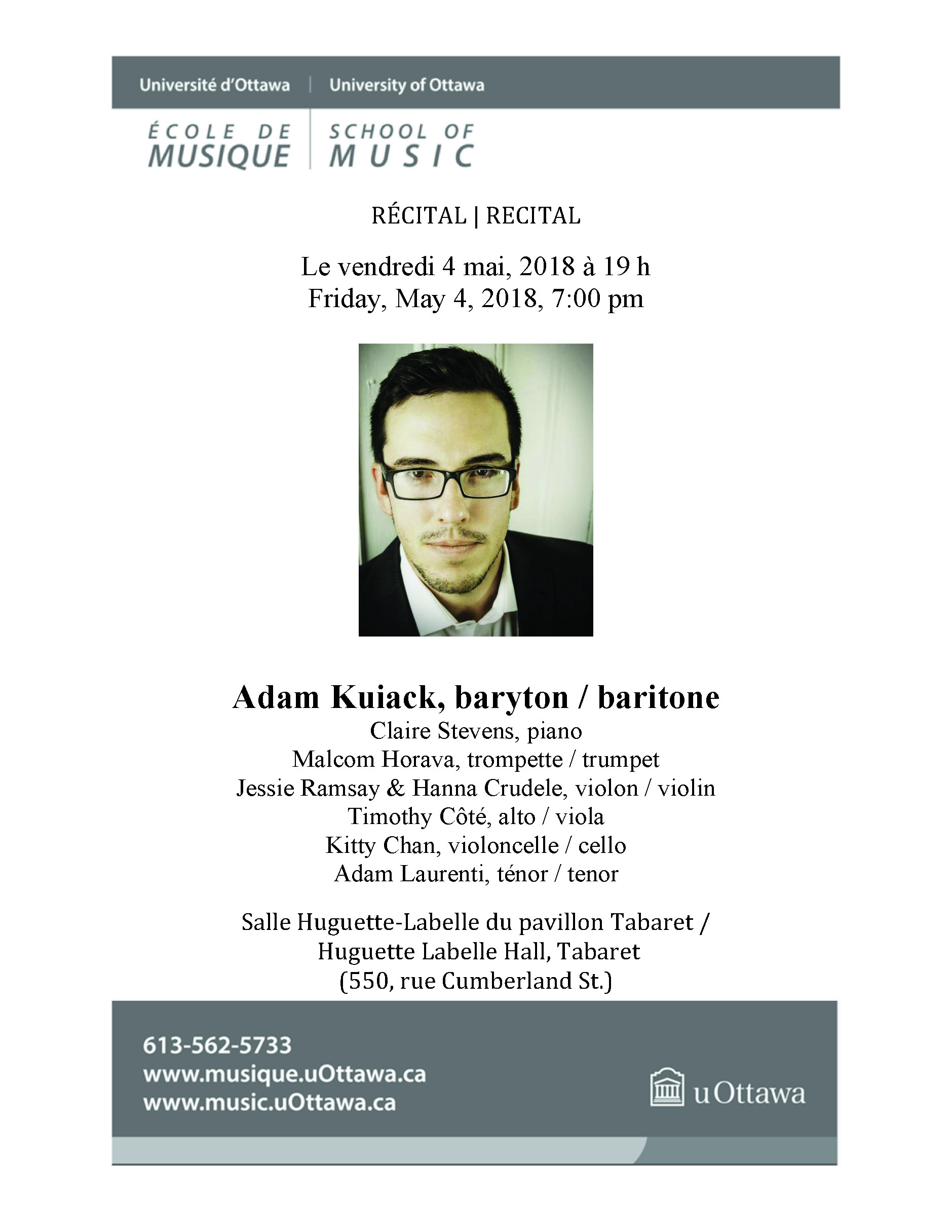 Page one of Adam Kuiack's recital program