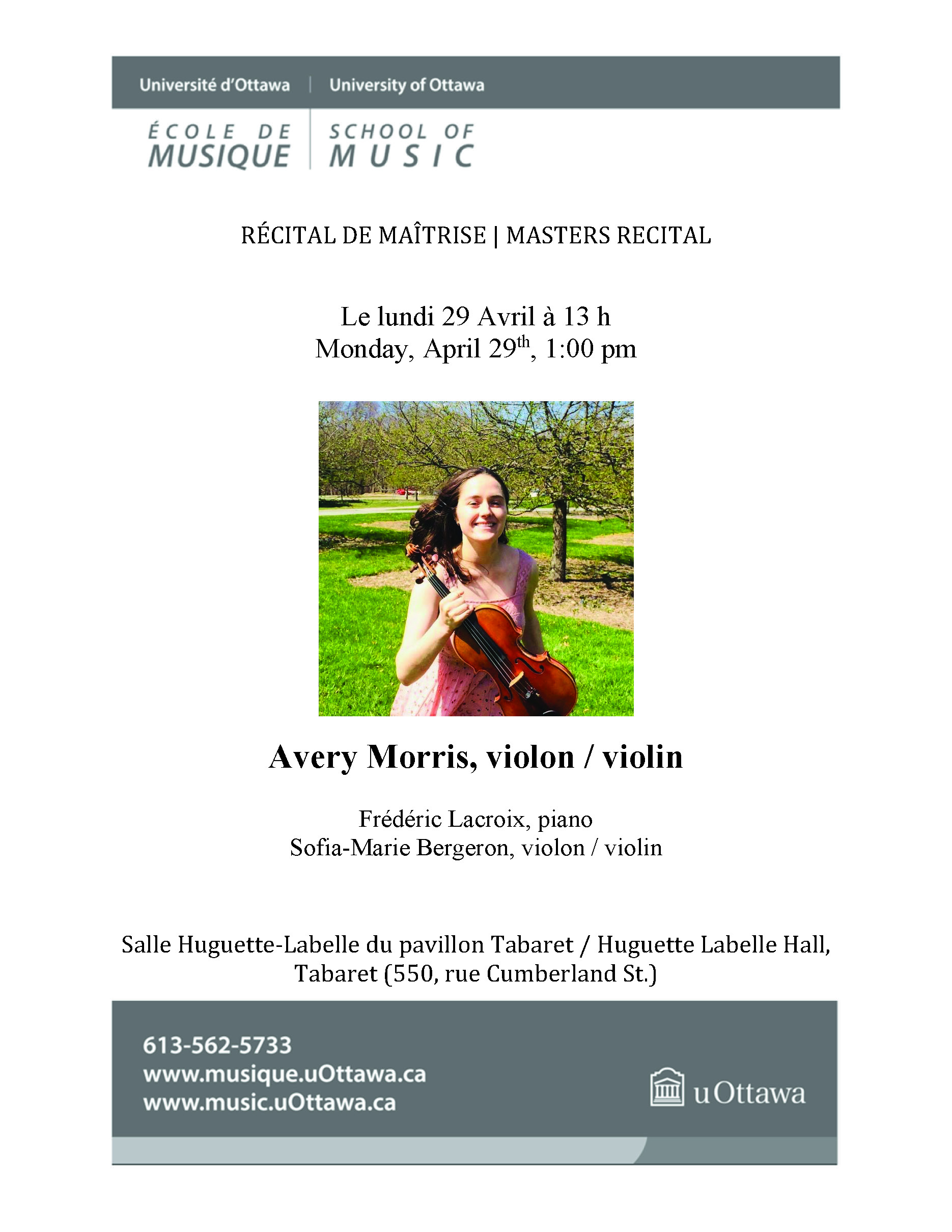 Recital Program of Avery Morris, page 1