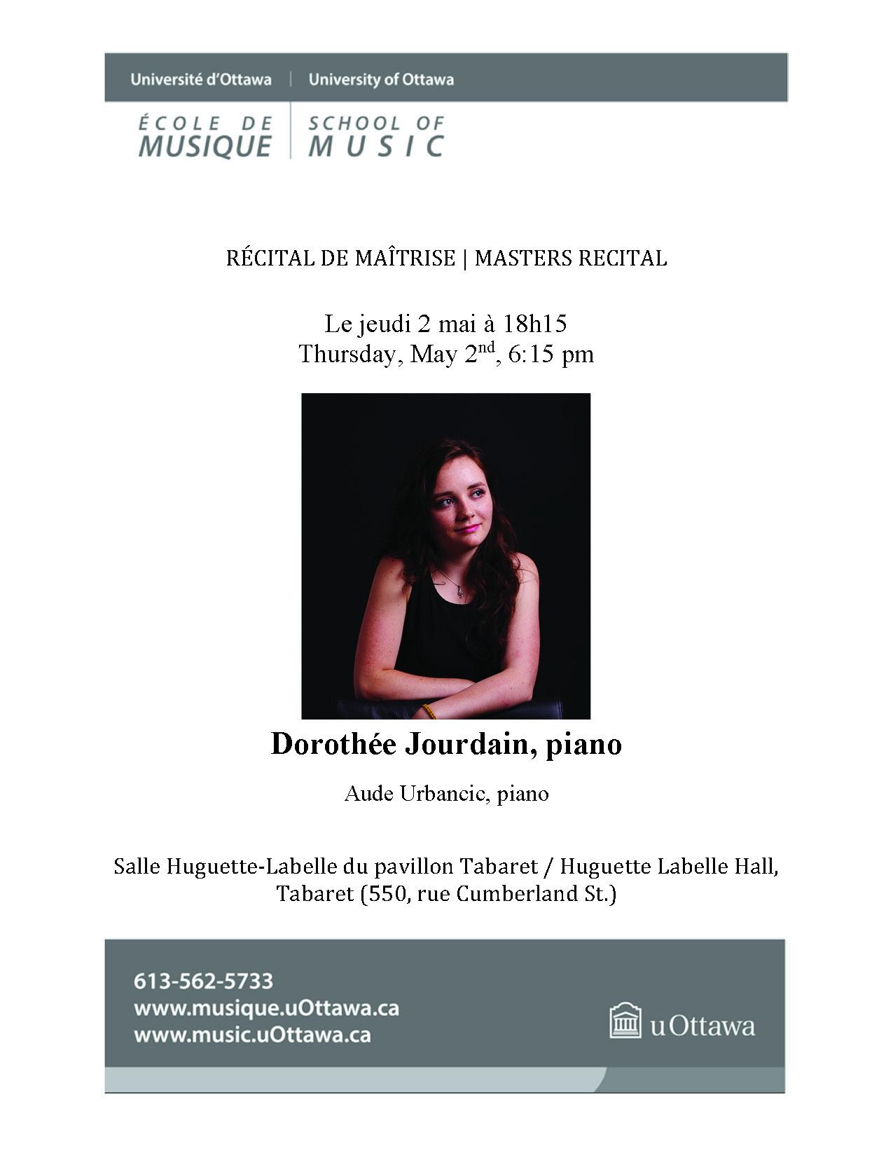 Recital program for Dorothée Jourdain, p. 1