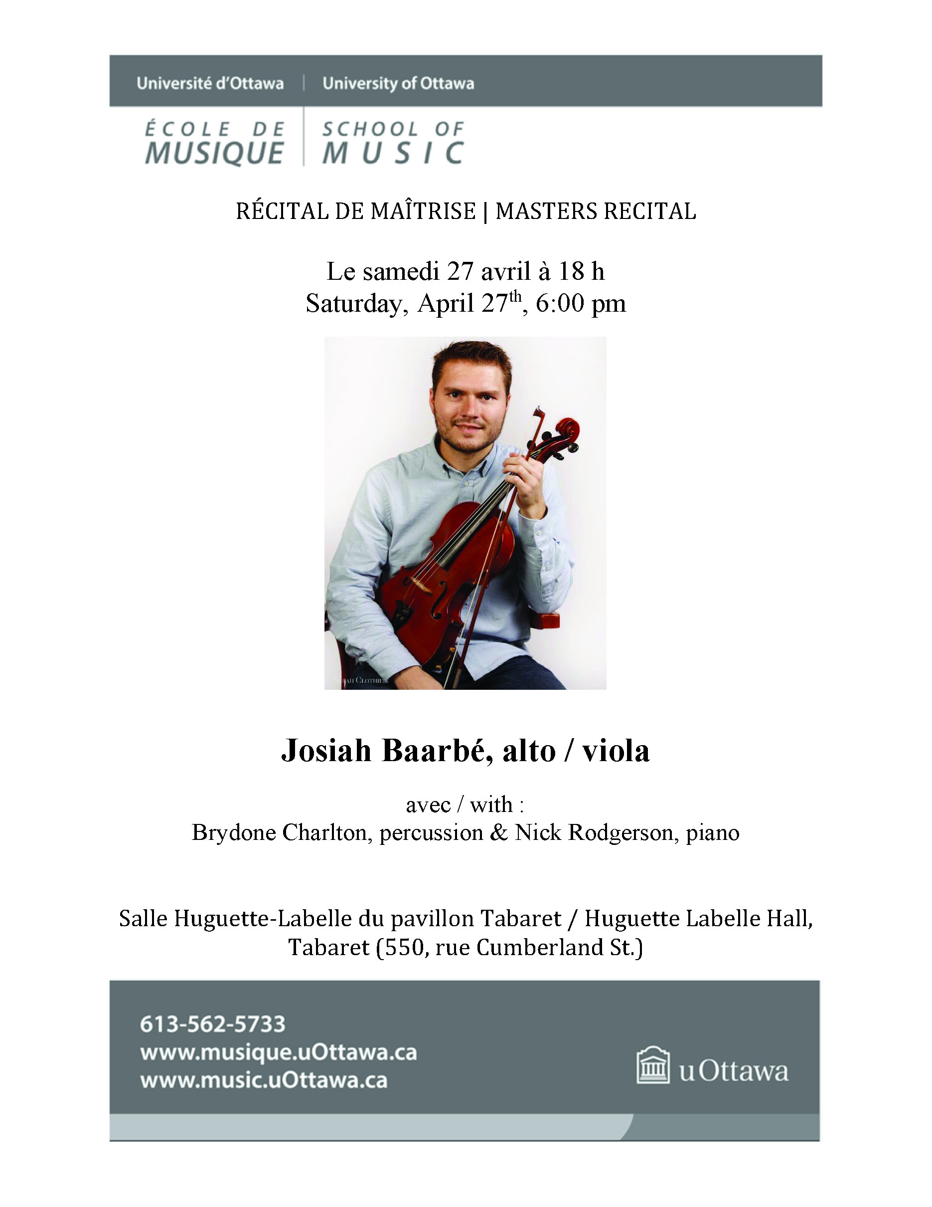 Josiah Baarbe recital program, page 1