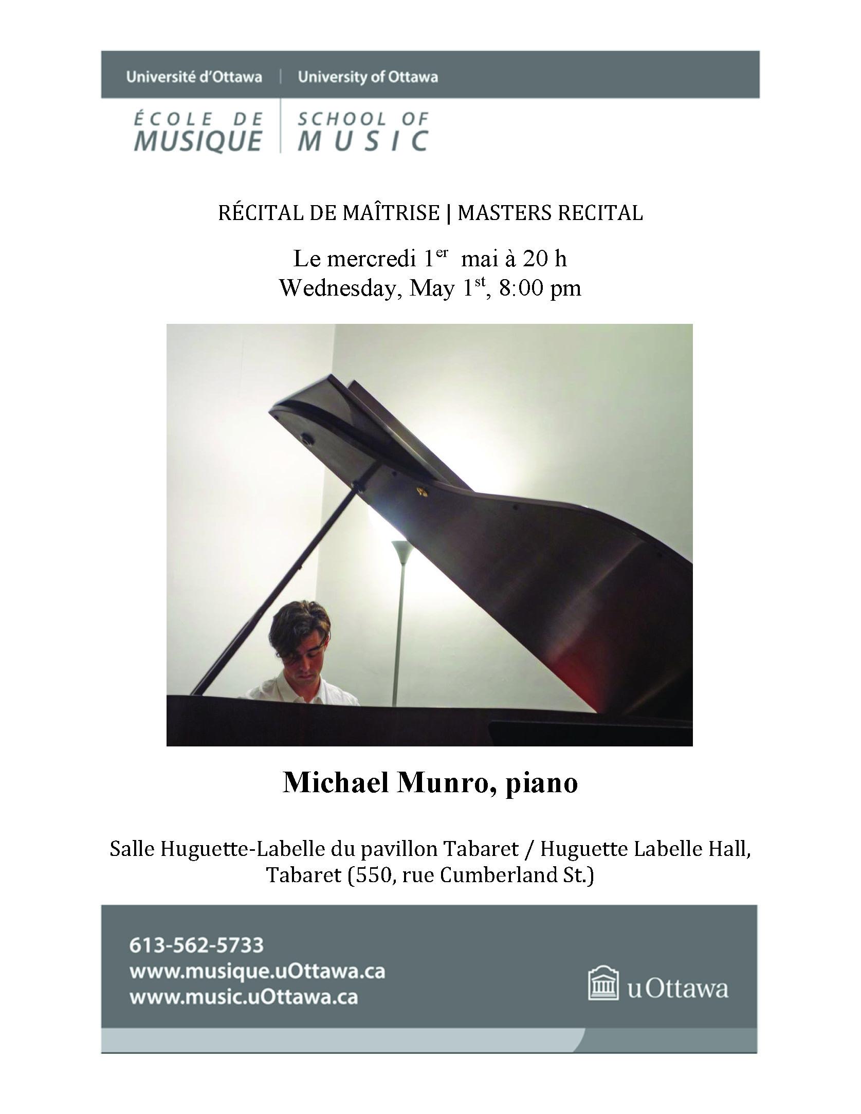 Recital program for Michael Munro, p. 1