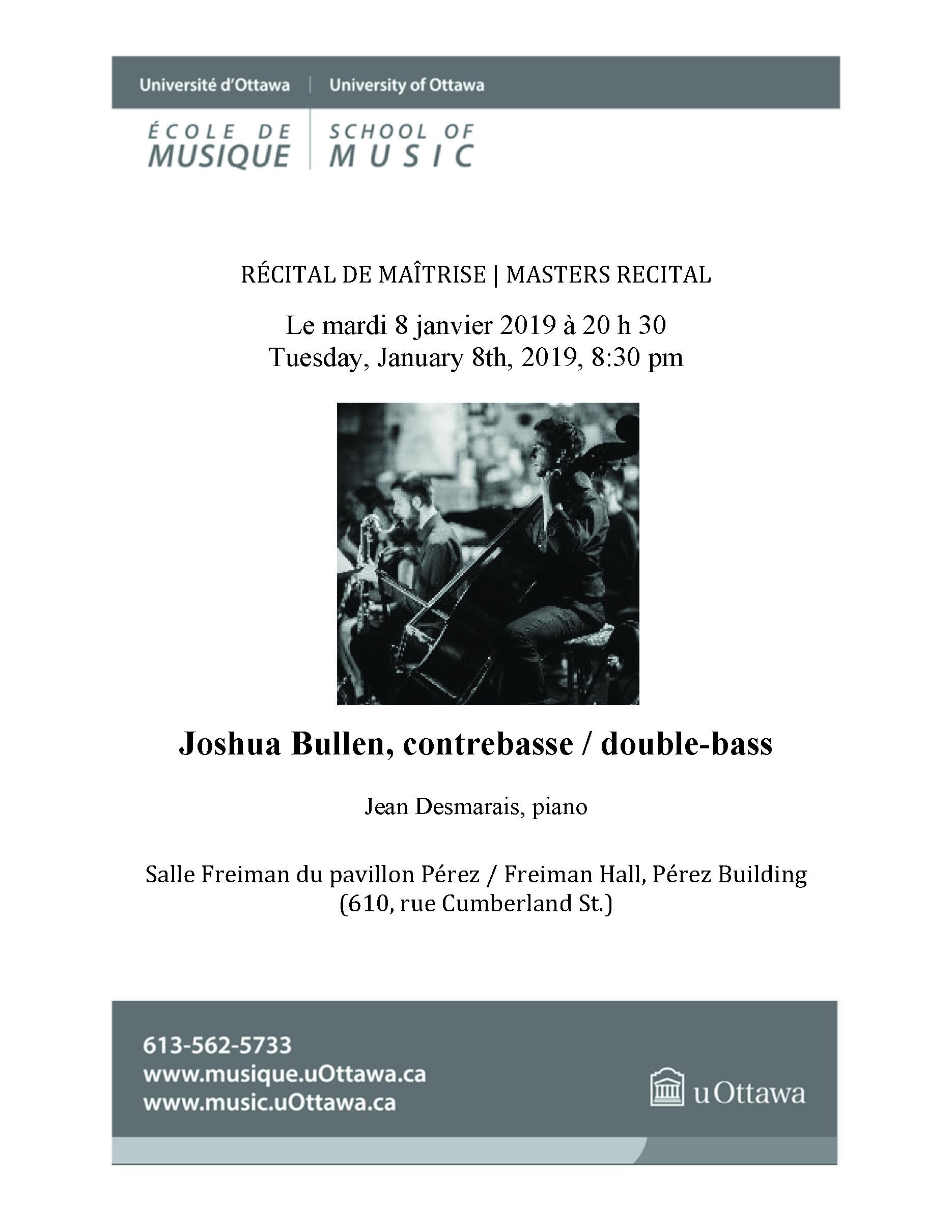 Programme de récital pour Joshua Bullen - page 1