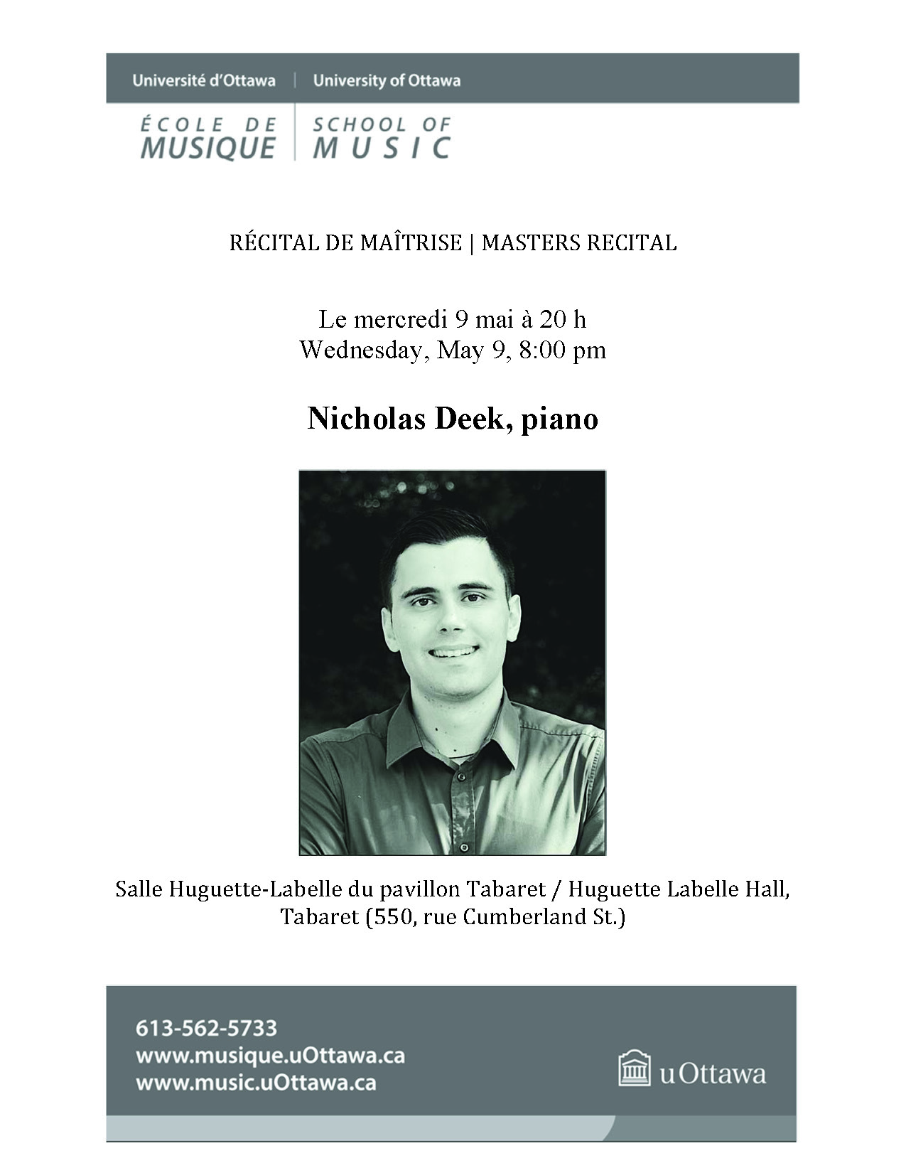 Page 1 of Nicolas Deek's recital program