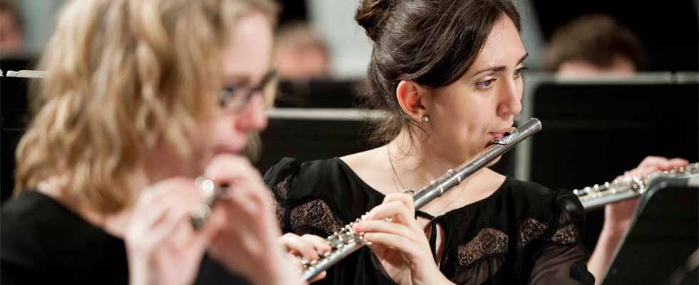 Photo de la section de flutes de l'Harmonie de l'Université d'Ottawa