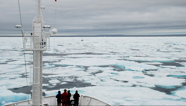 Aboard a boat in the Arctic waters