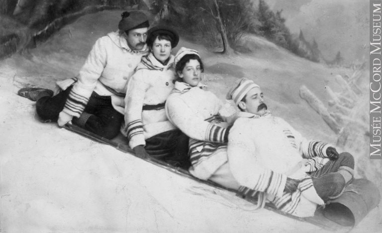 green and friends tobogganing