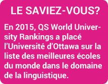 LE SAVIEZ-VOUS?  En 2015, QS World University Rankings a placé l'Université d'Ottawa sur la liste des meilleures écoles du monde dans le domaine de la linguistique.