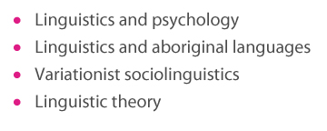 Linguistics and psychology, Linguistics and aboriginal languages , Variationist sociolinguistics, Linguistic theory