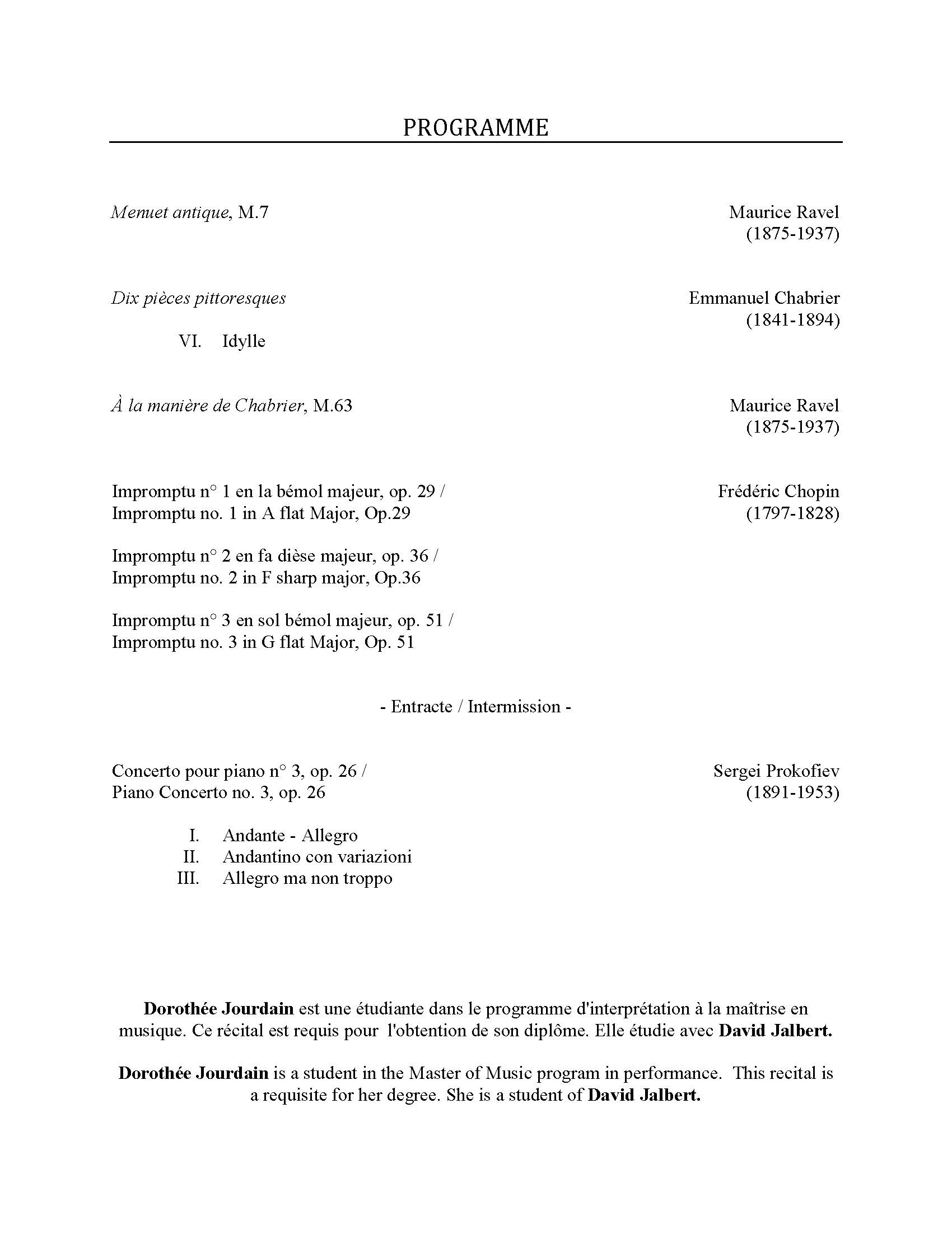 Recital program for Dorothée Jourdain, p. 2