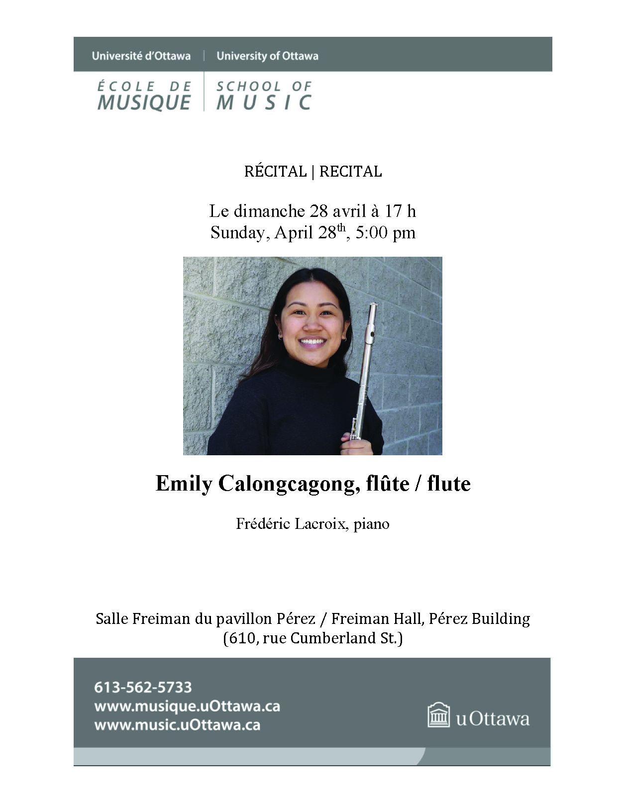Recital program for Emily Calongcagong, page 1