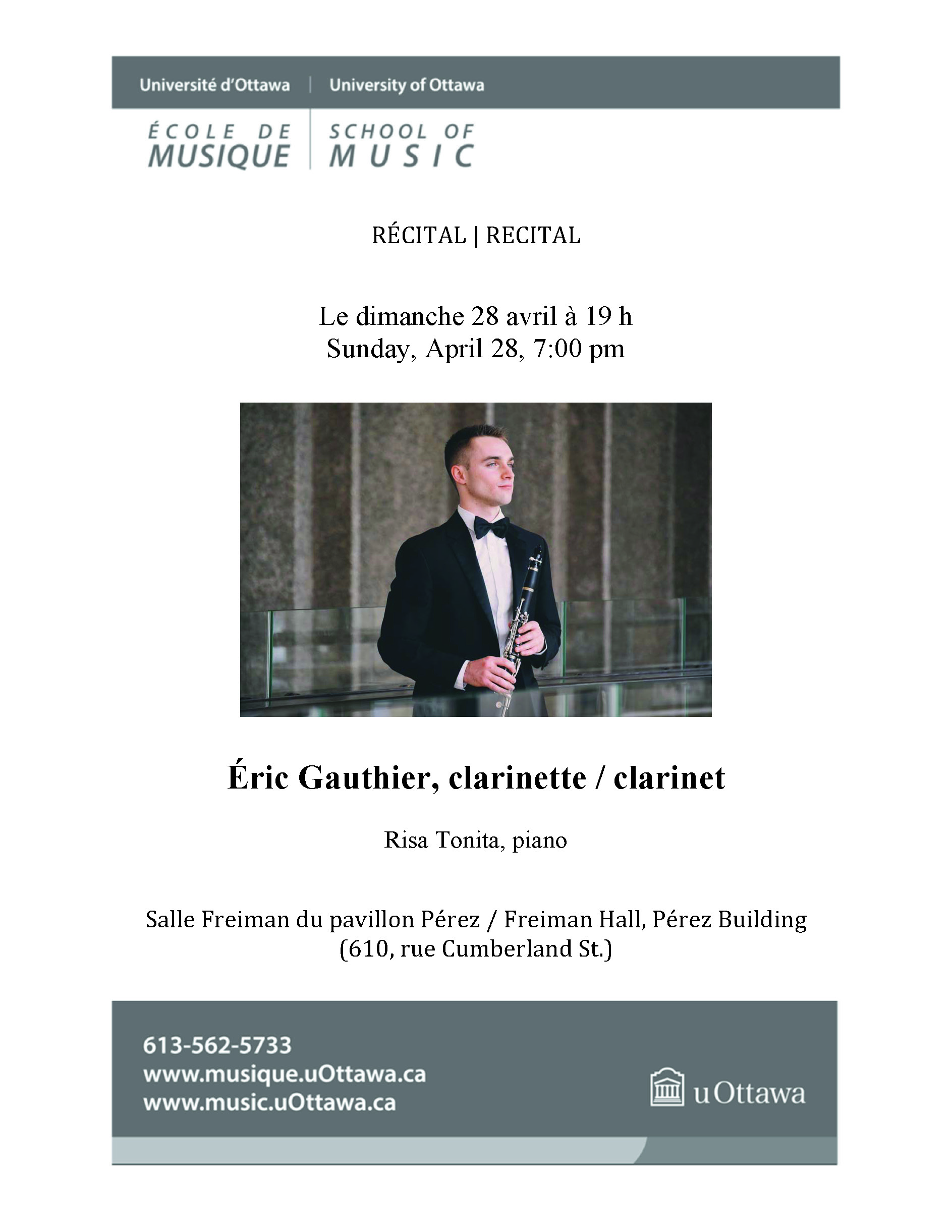 Recital program for Eric Gauthier, page 1