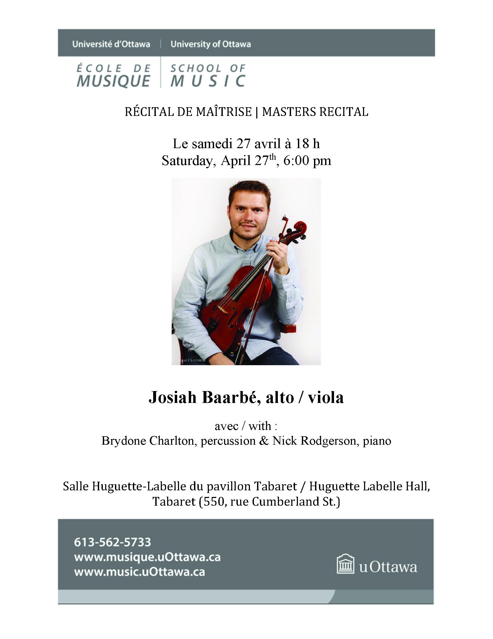 Josiah Baarbe recital program, page 1