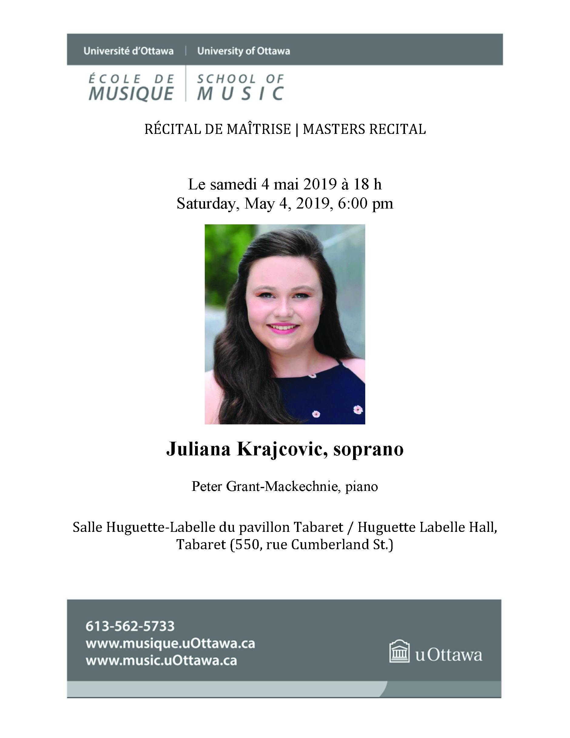 Recital program for Juliana Krajcovic, p. 1