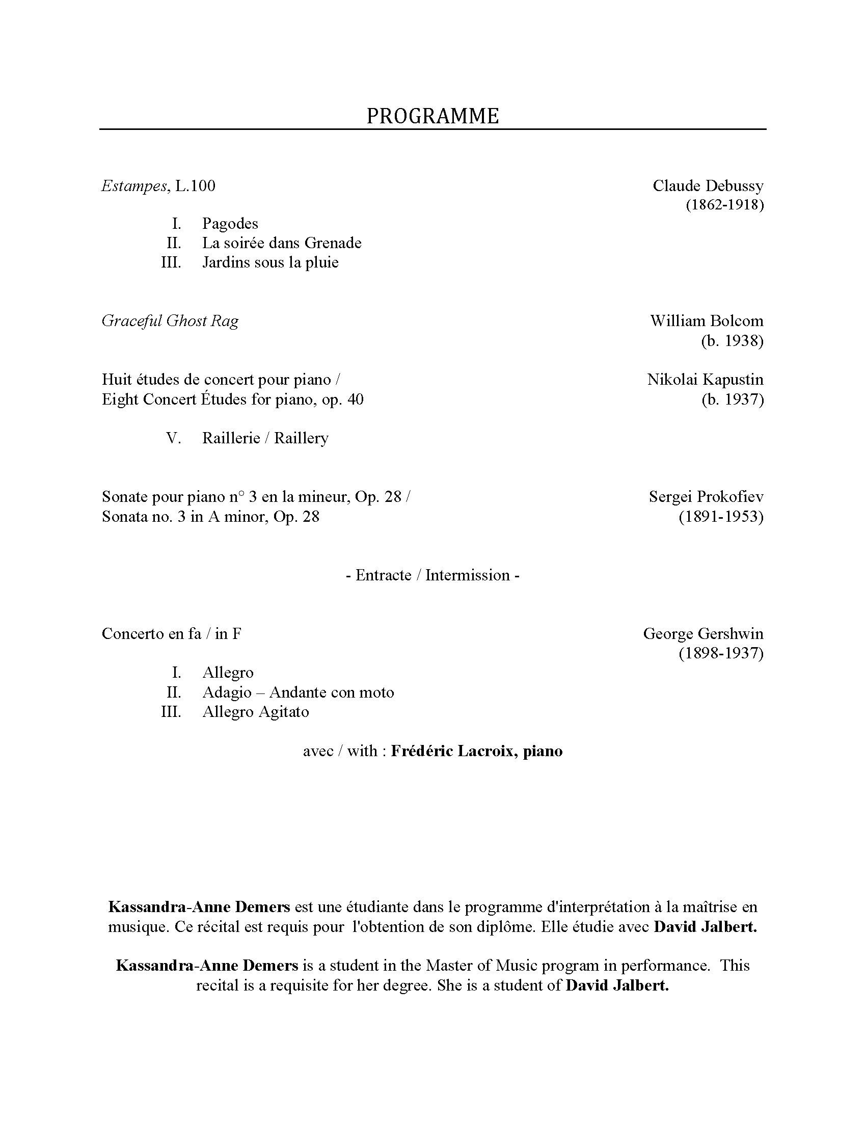 Recital program for Kassandra-Anne Demers, p. 2