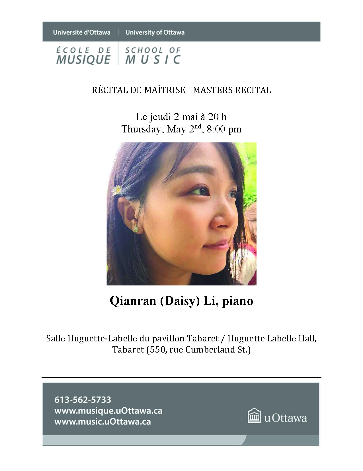 Recital program for Daisy Li, p. 1