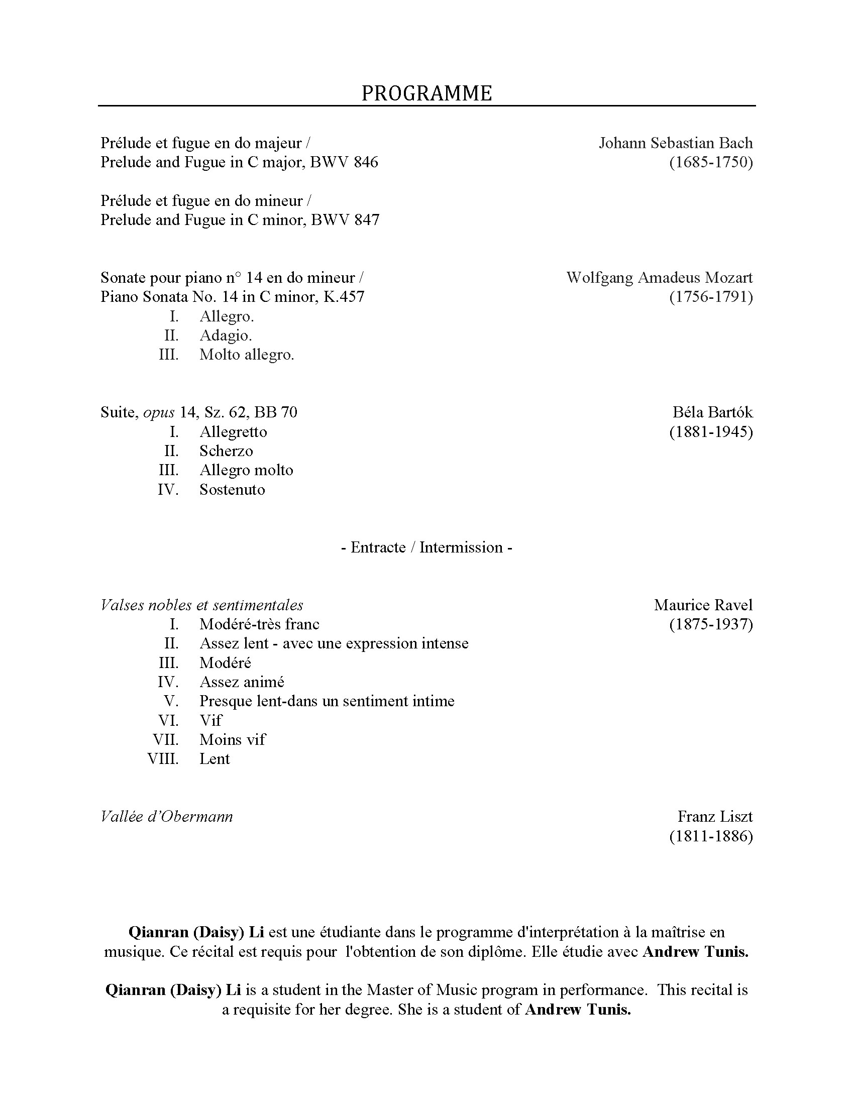 Recital program for Daisy Li, p. 2