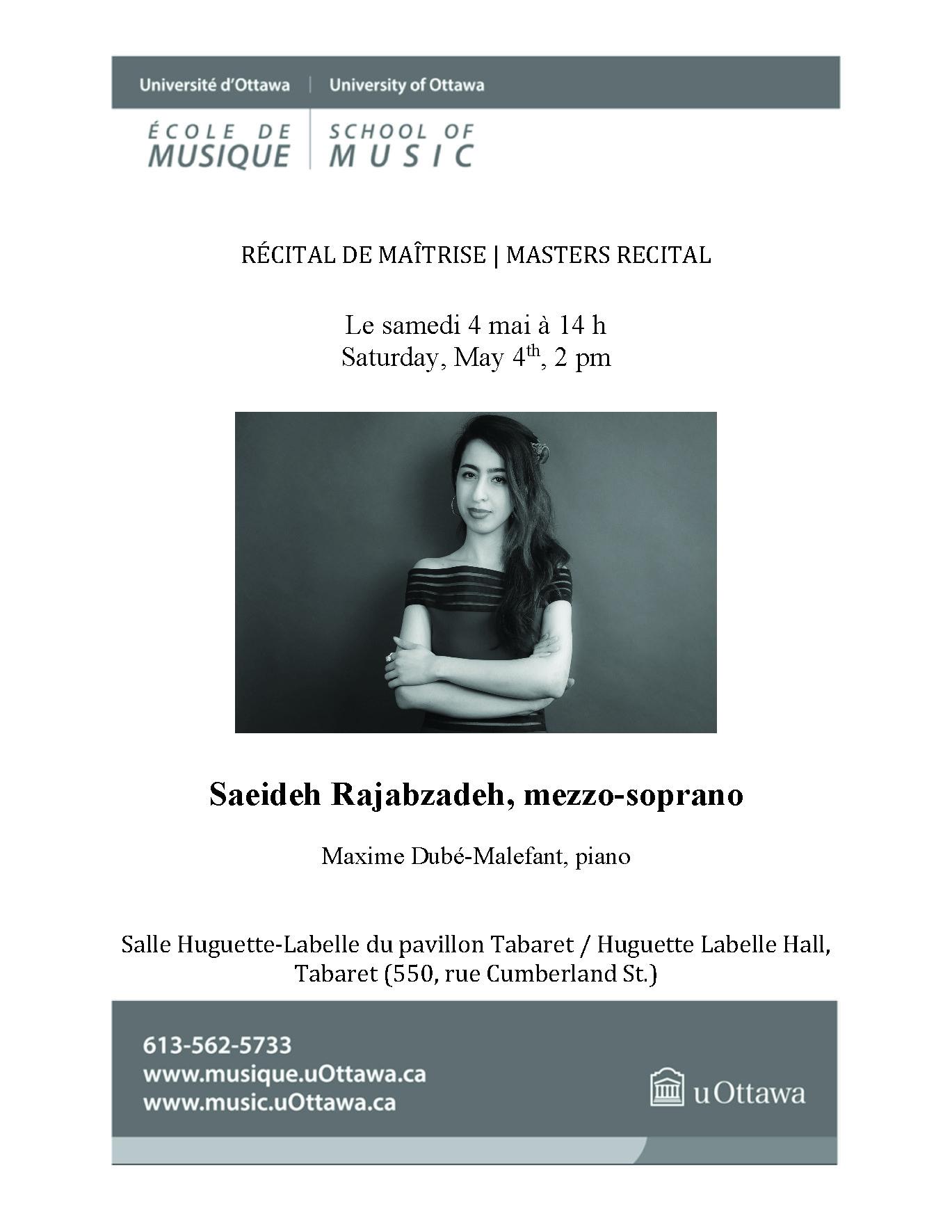 Recital program for Saeideh Rajabzadeh, p. 1