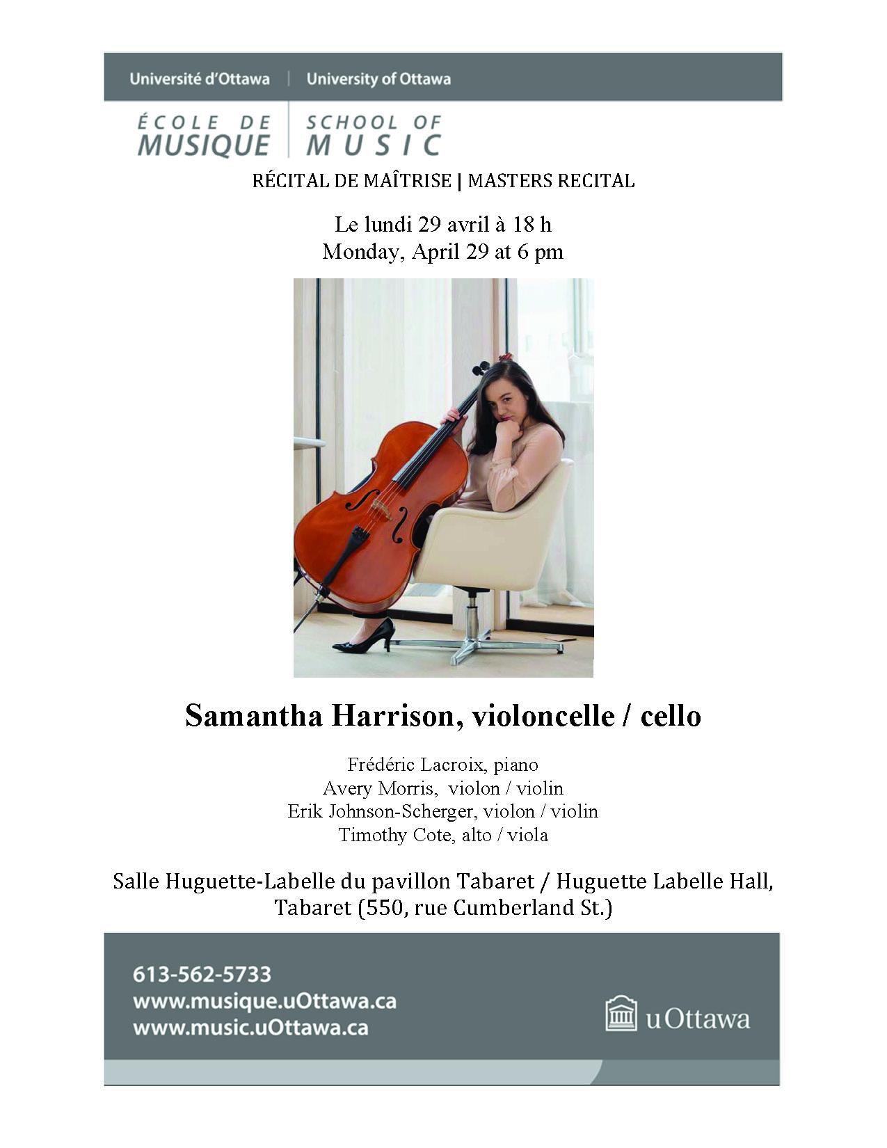 Recital program for Sam Harrison, page 1