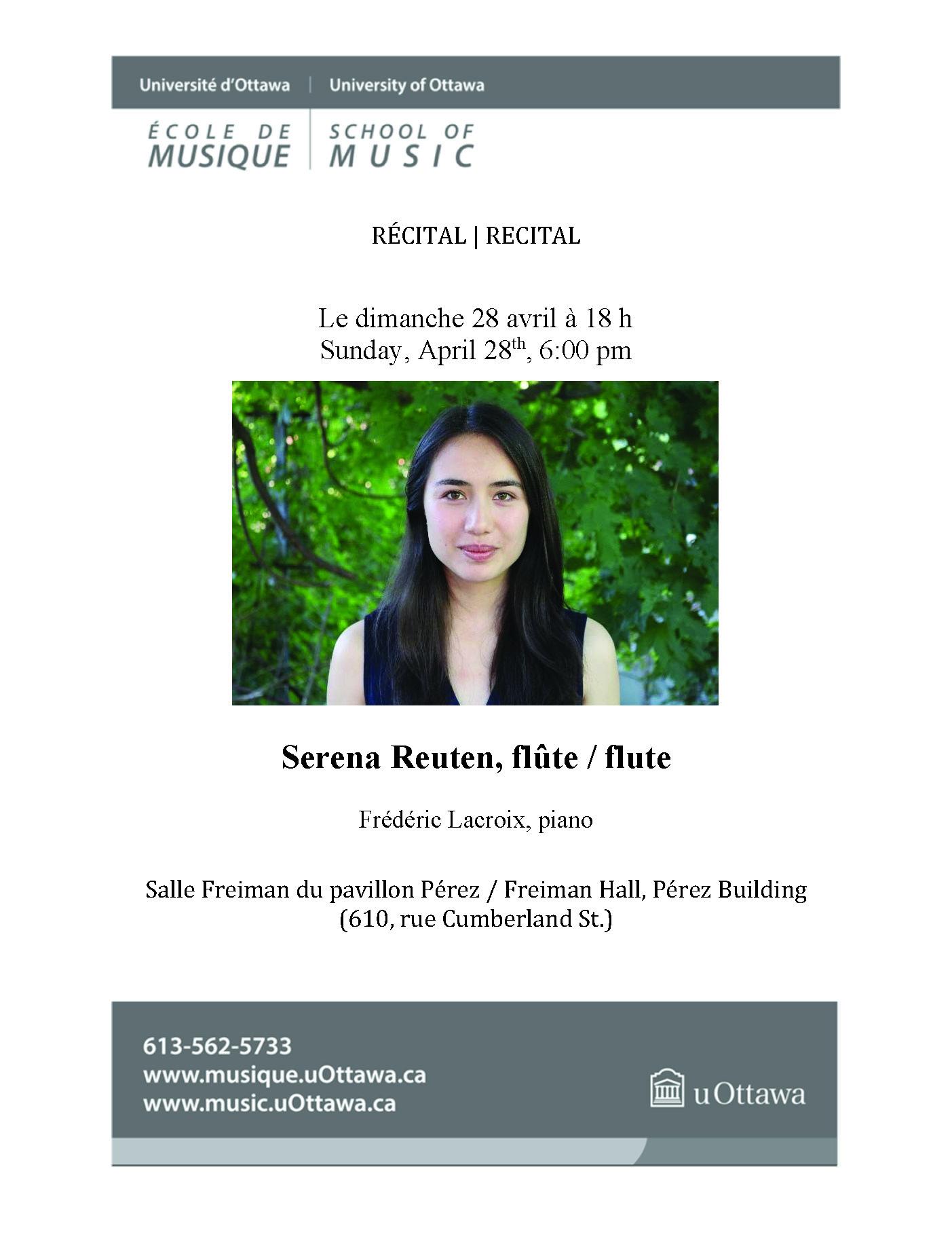 Recital program for Serena Reuten, page 1