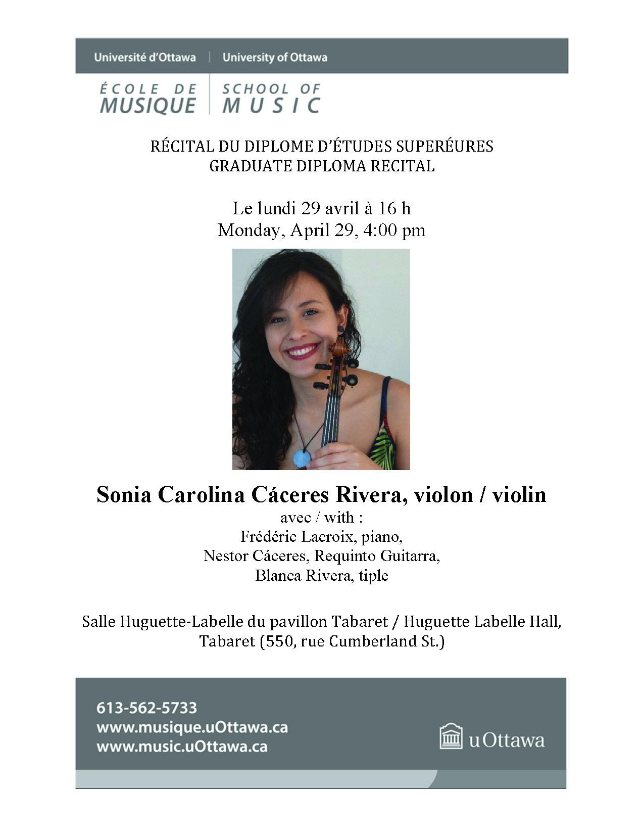 Recital program for Sonia Rivera, page 1