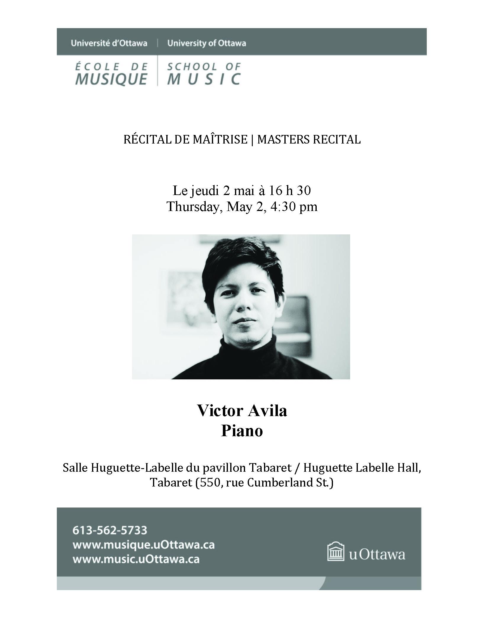 Recital program for Victor Avila, p. 1