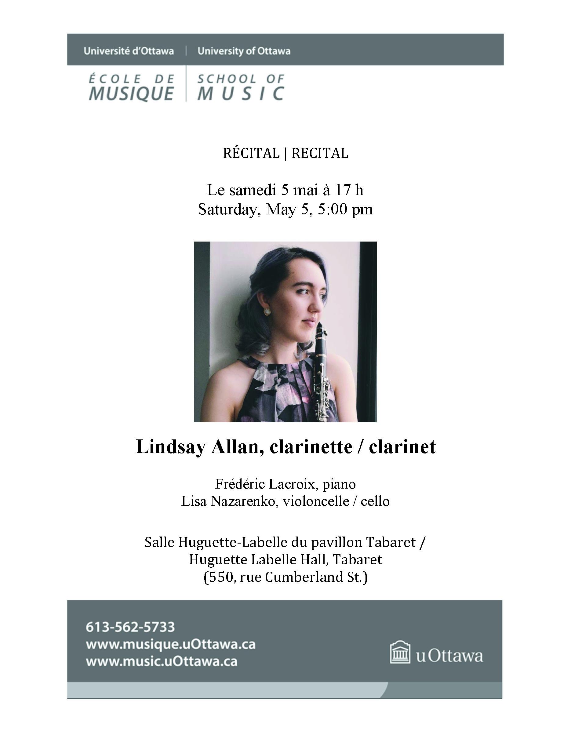 Page 1 of Lindsay Allan's recital program