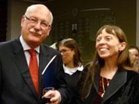 Dean of the Latin American  Ambassadors Arturo G. Bothamley  and Department Chair Agatha Schwartz