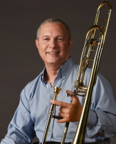 Donald Renshaw photo with trombone