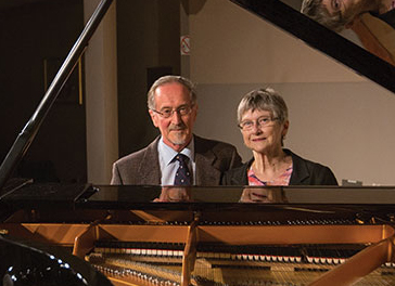 Photo of David and Shelagh Williams at piano