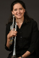 Karen Donnelly photo with trumpet