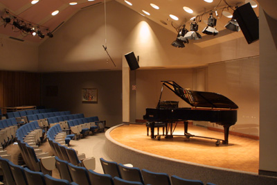 Freiman Hall stage and Yamaha grand piano
