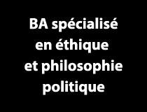 Programme BA spécialisé - Éthique et philosophie politique