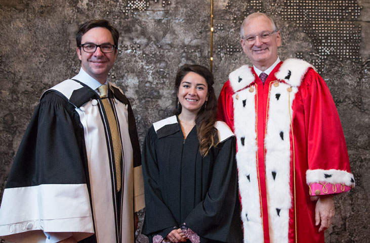 Kevin Kee, Dean of the Faculty of Arts; Brittany Johnston, Class President, Fall 2016 and Jacques Frémont, uOttawa President and Vice-Chancellor.