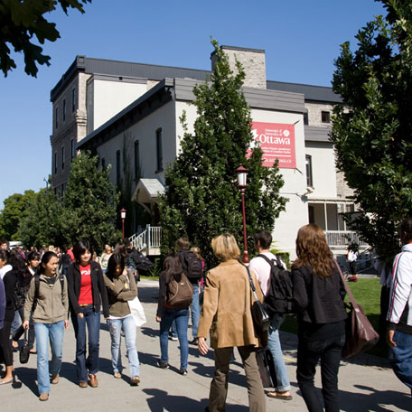 People walking along the campus pedestrian mall