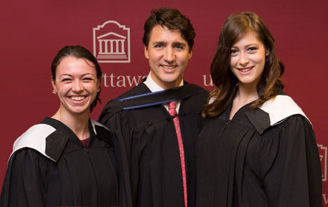 Kellie Forand, Justin Trudeau, Erin Chapman Convocation 2017