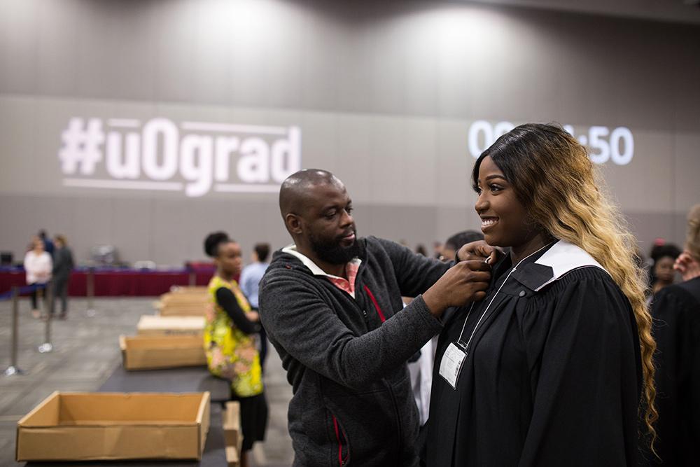 Student preparing for the 2019 Convocation
