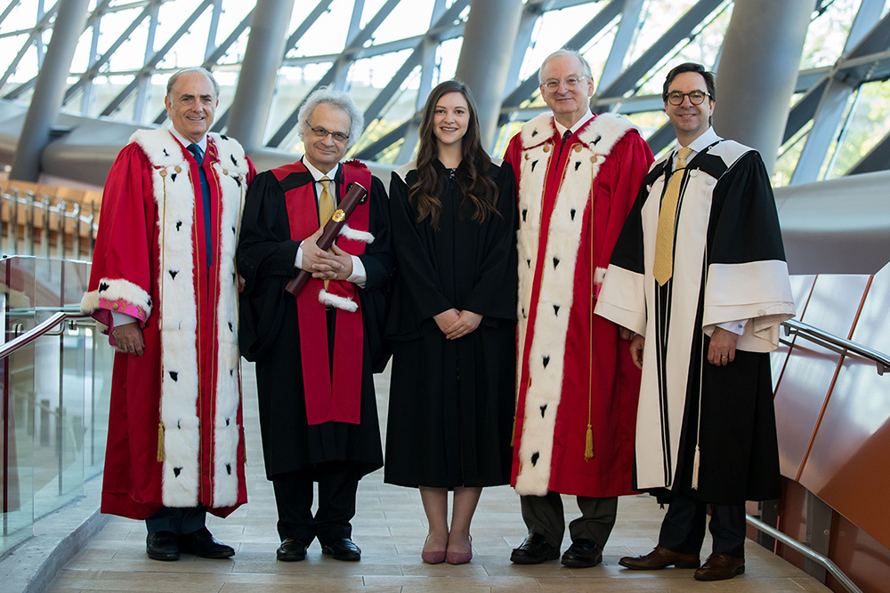 Calin Rovinescu, Chancellor, Amin Maalouf, Honorary Doctorate, Abigail Roche, Class President, Jacques Frémont, President and Kevin Kee, Dean at the Faculty of Arts