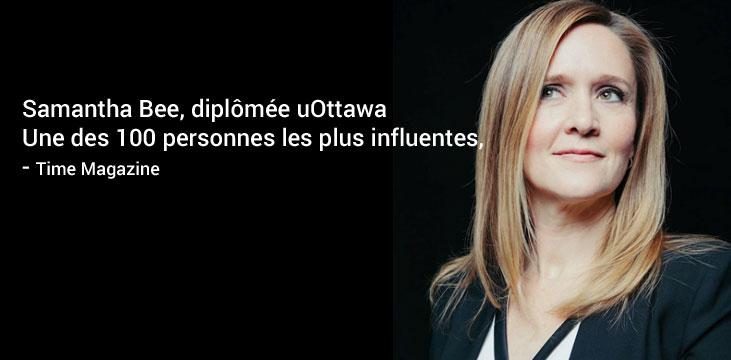 Samantha Bee, diplômée uOttawa Une des 100 personnes les plus influentes, - Time Magazine
