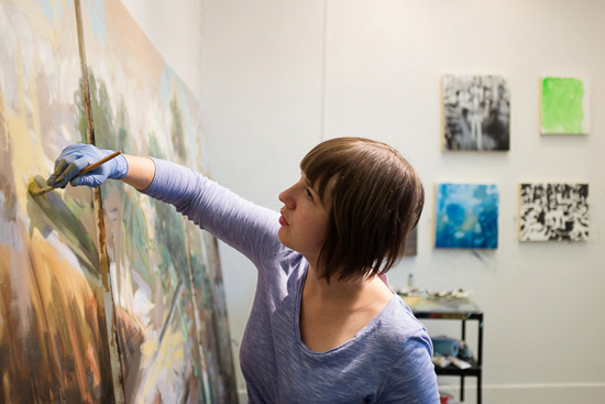 Stanzie Tooth at work in her studio at the University of Ottawa