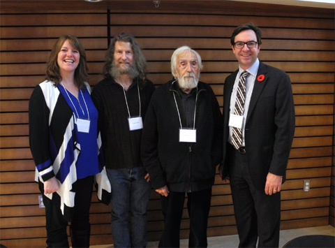 Christine Laurin, recipient, Faculty of Arts Scholarship for First Generation Students; Claude Jutras; Gilles Provost; and Kevin Kee, Dean of the Faculty of Arts