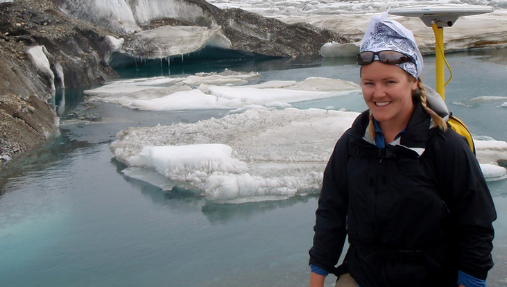 Norah Foy at the Kaskawulsh Glacier, Yukon, where she completed work for her master's thesis.